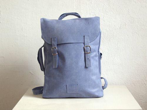 Большой голубой рюкзак из гладкой кожи Colorful leather backpack rucksack Kokosina