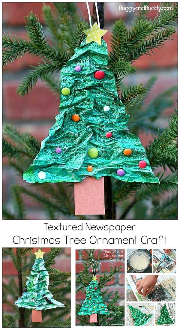 Homemade Christmas Tree Ornament Using Newspaper And Flour Buggy And Buddy Christmas Tree Ornament Crafts Xmas Crafts Paper Mache Christmas