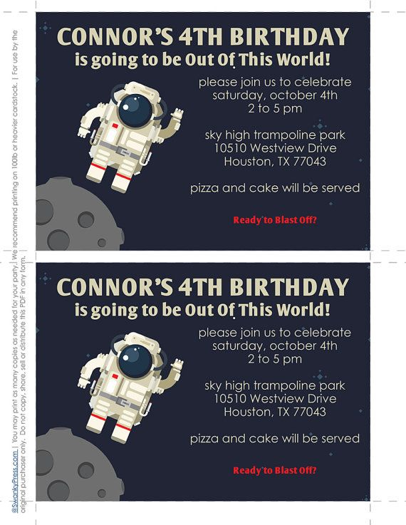 Space Party Invitation astronaut Alien party by SwankyPress