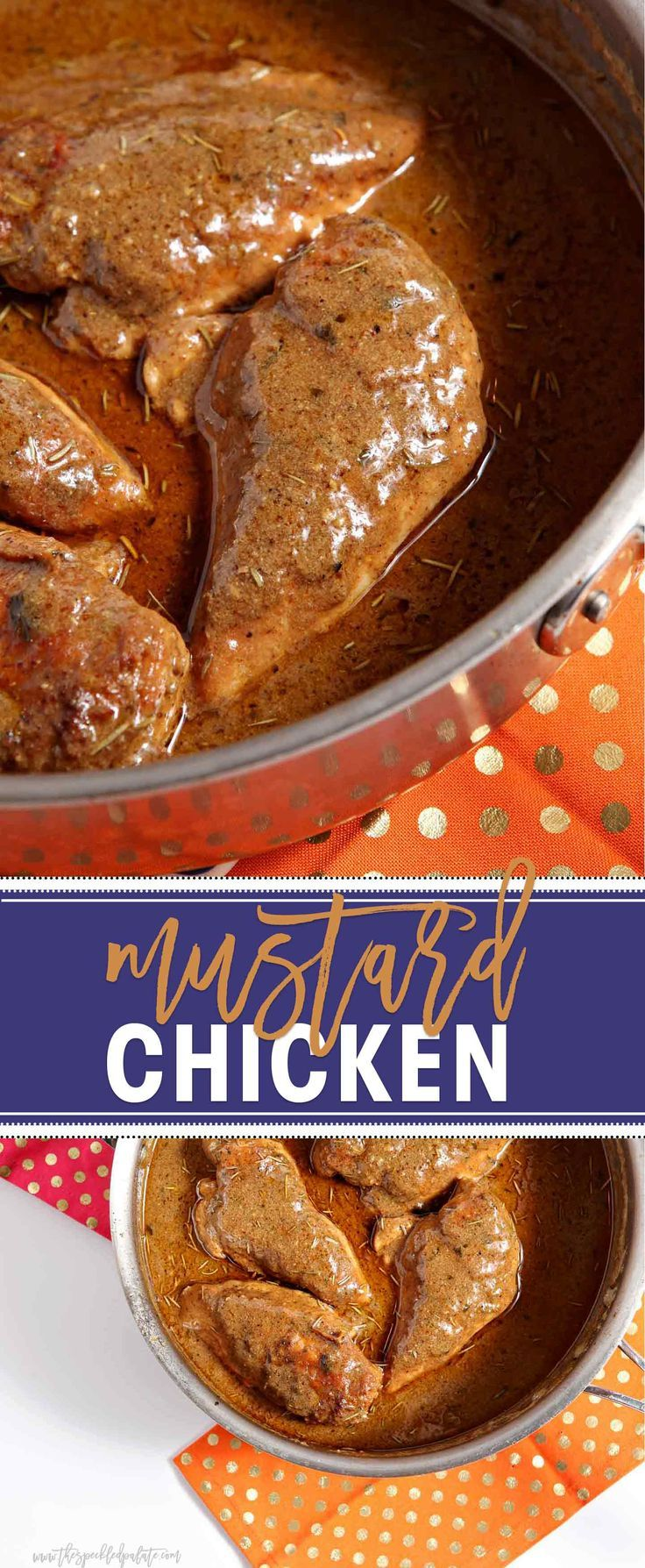 Mustard Chicken is an entree the whole family will love, and it can be on the table in less than 45 minutes. Chicken breasts are seasoned and seared, then a creamy mustard sauce is created using the pan drippings, chicken stock, milk, Dijon mustard and dried herbs. Pop the chicken back into the sauce and simmer until ready. Serve the chicken over rice and smother with the decadent mustard sauce. Enjoy with bread so you can sop up more sauce!: