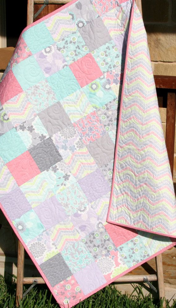 shabby chic baby girl quilt cottage style pastel light pink aqua grey white purple gray child. Black Bedroom Furniture Sets. Home Design Ideas