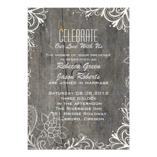 flourish swirls lace wood  rustic country wedding invitation