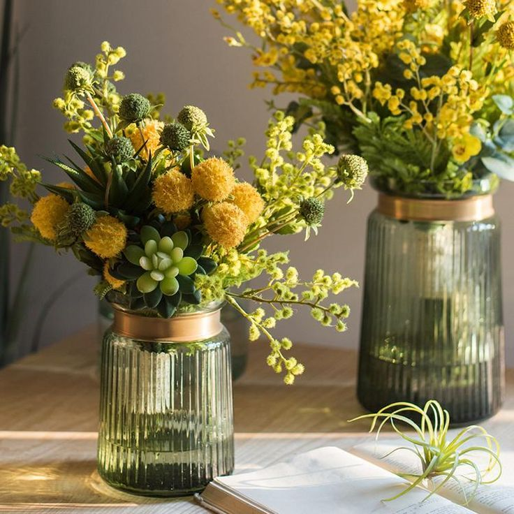 Artificial Flower Bouquet Green Yellow Spring Flowers 13 Tall Yellow Spring Flowers Artificial Flower Bouquet Artificial Flowers