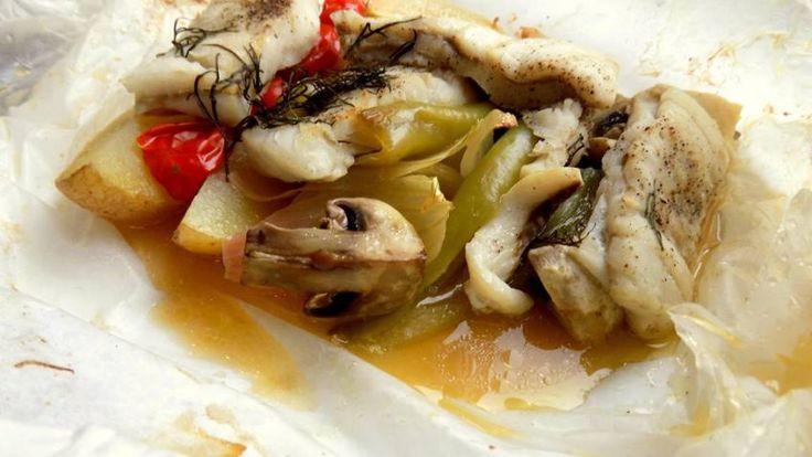Filé z tresky se zeleninou v papilotě
