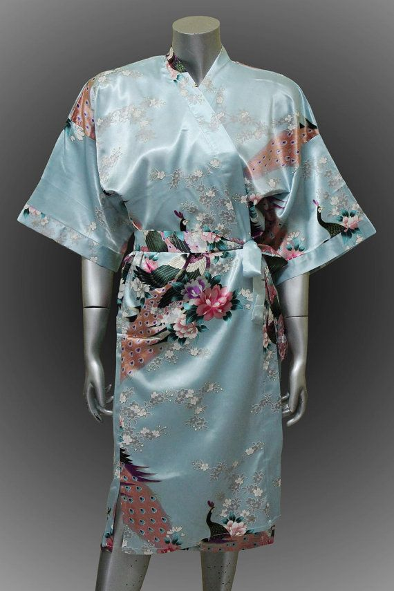 Bridesmaid Silk Robes Soft Sky Blue Painting Peacock by thaichill