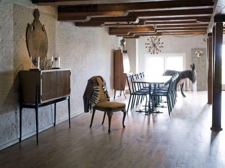 Classic Wood Furnishing Ideas from A House in The Netherlands: Amusing Of Dinning Room In Amsterdam Loft With Wooden Of Objects And  The Fur...