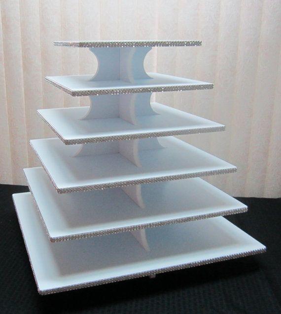 6 livello quadrati Cupcake Stand Sparkly di ClassyCakeStands