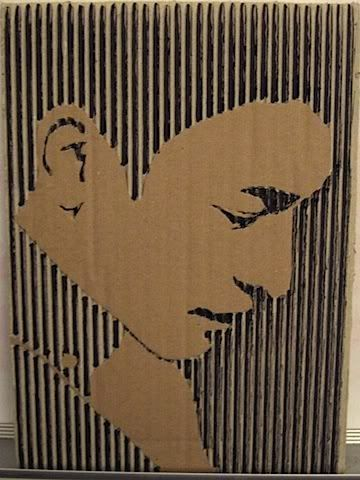 cut away portraits in corrugated cardboard- this is harder than it looks. If I ever teach high school...