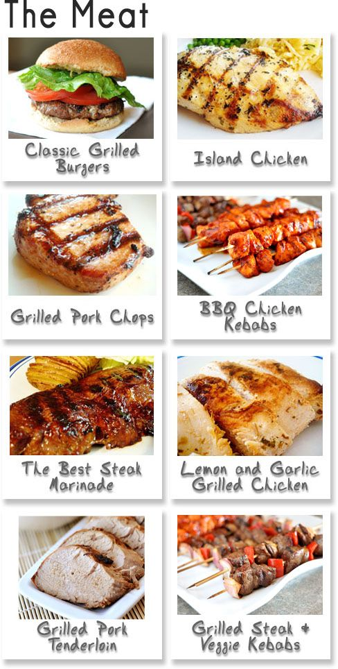 BBQ Make-A-Menu {Updated!} The Meat, The Sides, The Drinks, The Sweets - great mix and match ideas for Canada Day or any other BBQ!