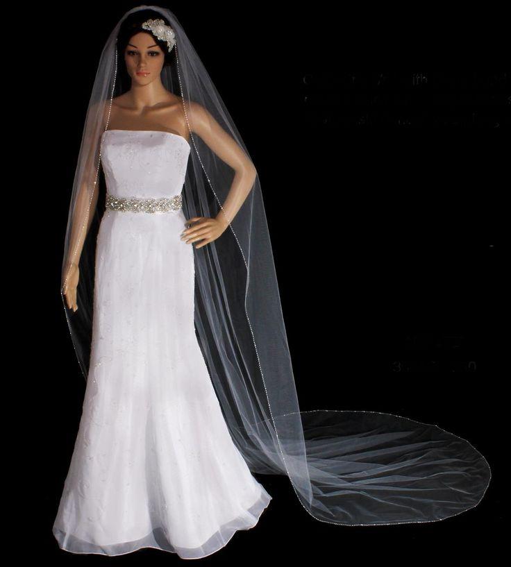 Beaded Rhinestone Edge Cathedral Length Wedding Veil