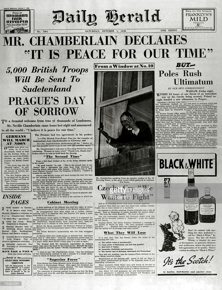 Publishing, Historic Newspaper Headlines, 1st October 1938, The front page of the Daily Herald shows the famous headline 'Peace For Our Time' after British Prime Minister Neville Chamberlain had returned from his Munich talks with Adolf Hitler