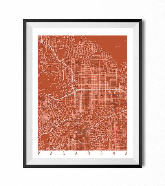 PASADENA Map Art Print / California Poster / by CityMapArt on Etsy