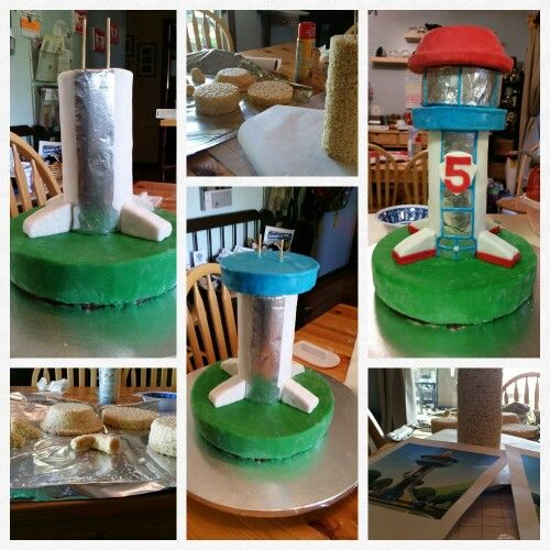 My Paw Patrol Lookout Tower cake. My Guy asked for cheescake, so that's my base. The rest was molded of Rice Krispie Treat. LOVE the result!!!