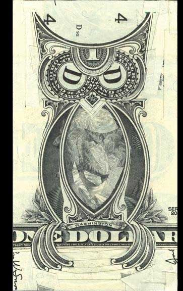 Bohemian Grove Club Owl Made From A One Dollar Bill