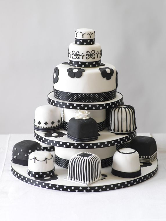 Unique Black and White Wedding Mini Cakes Tower