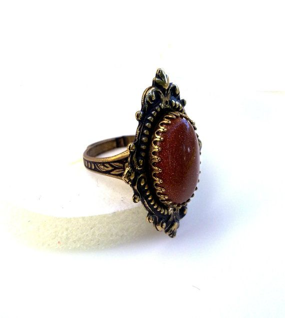 gothic ring golden sand stone goth jewelry by ApplebiteJewelry
