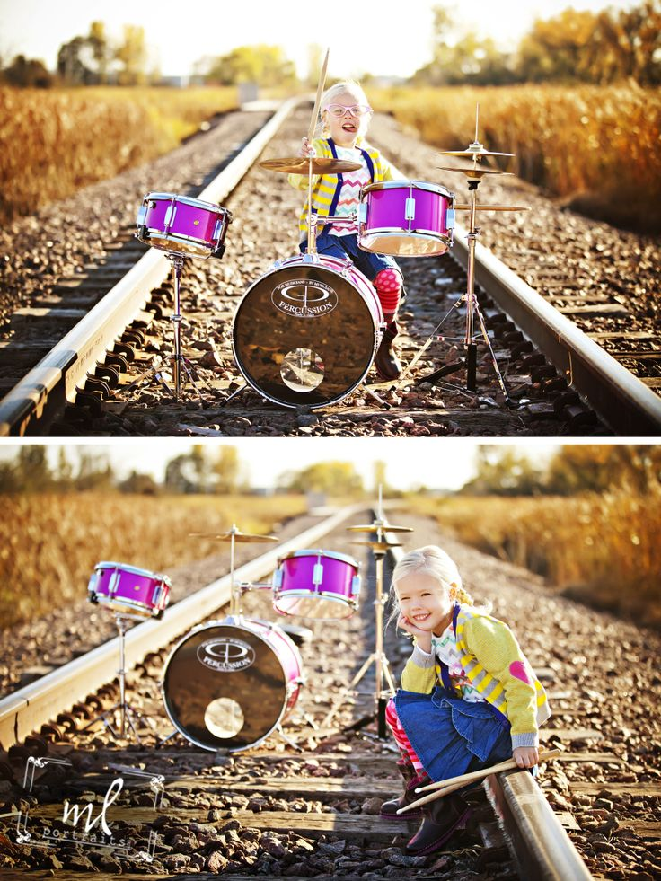 www.mlportraits.com  -  Fun Children Photography | Kids Photo Session | Drums | Railroad Tracks | Fall | Outdoor | What to wear Kids