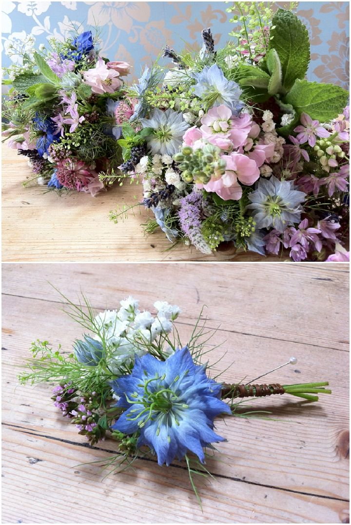 Blue Wedding Flowers With Campbells
