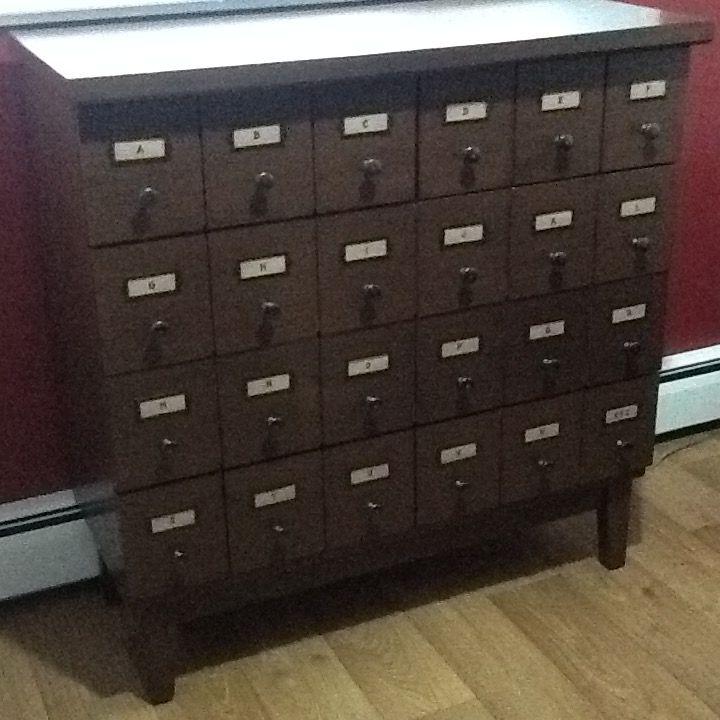 Dresser drawer. Looks like library card filer.