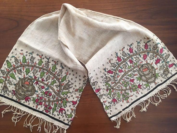 Antique Ottoman-Turkish Silk & Metallic Hand Embroidery On Linen Panel 6*****