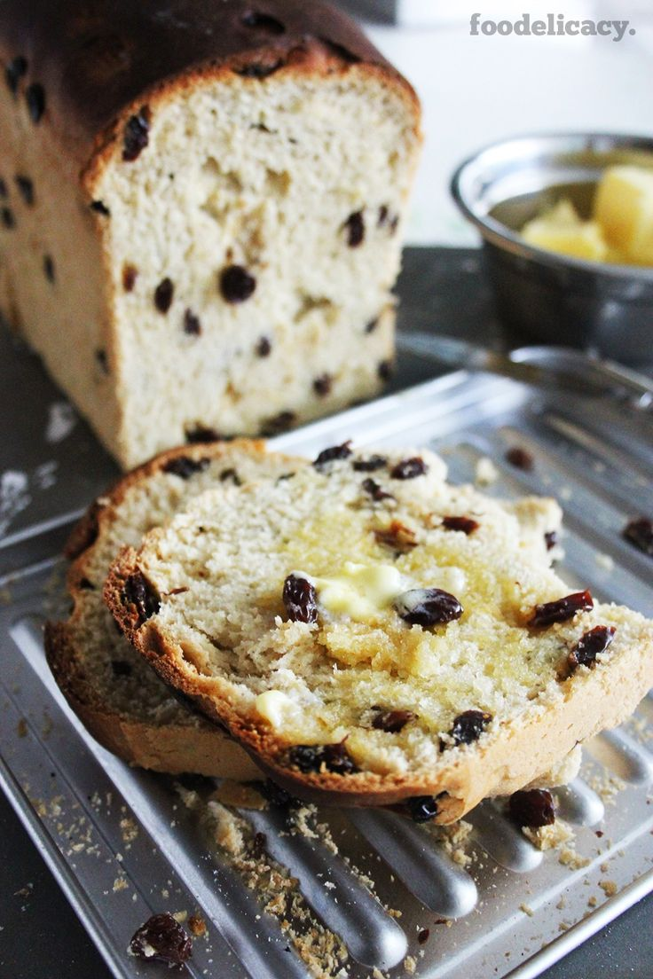 Welsh fruit bread loaf, often filled with dried raisins or currants & candied peel (optional). (Source: 'Bryn's Kitchen' by Bryn Williams).