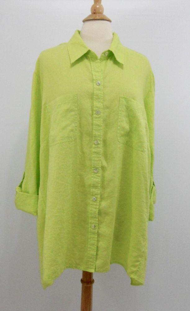 4ad6a269 Jones New York Signature 3X Linen Trapeze Top Lime Button Down Shirt Green  NWT #JonesNewYork #ButtonDownShirt #Casual