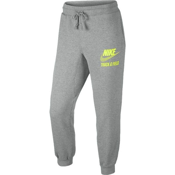 Nike Sportswear AW77 Track Field Cuffed Pant Men's Grey Volt HO14 063 ($20) ❤ liked on Polyvore featuring men's fashion, men's clothing, men's activewear, men's activewear pants and mens activewear pants