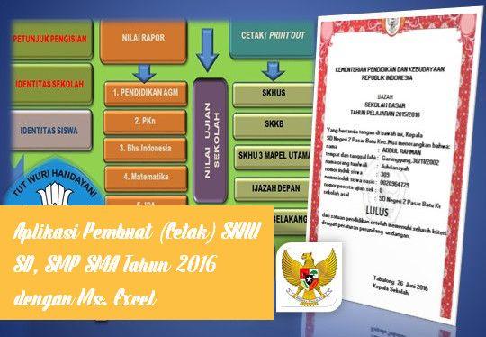 [File Pendidikan] Aplikasi Pembuat (Cetak) SKHU SD SMP SMA Tahun 2016 dengan Ms. Excel