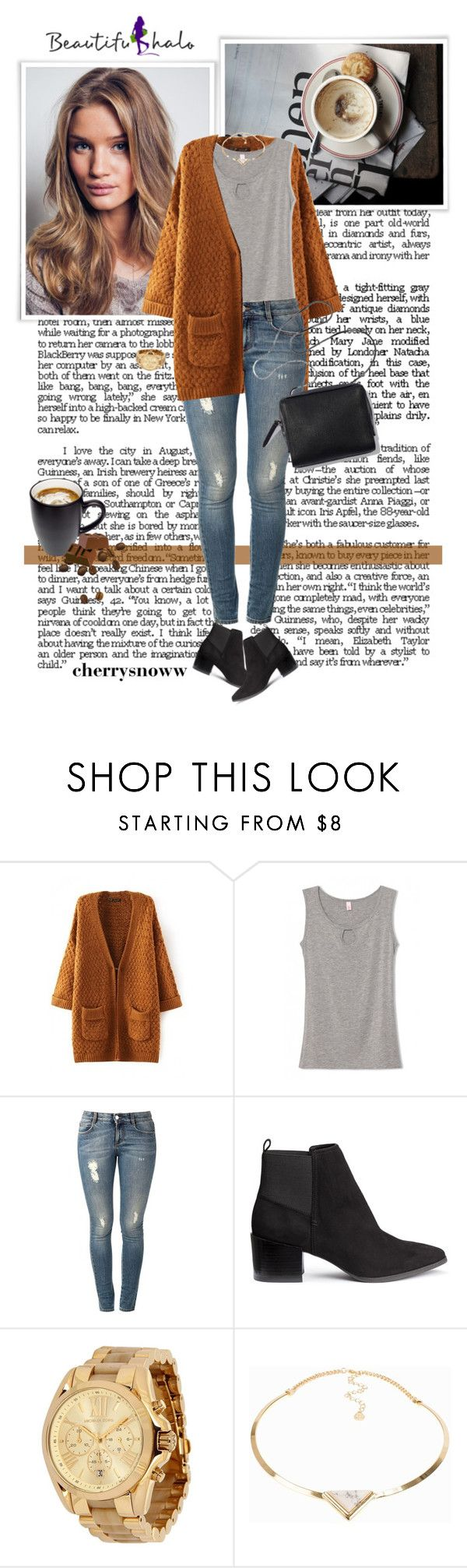 """Casual rainy day fall outfit"" by cherrysnoww ❤ liked on Polyvore featuring STELLA McCARTNEY, H&M, Michael Kors and Pieces"