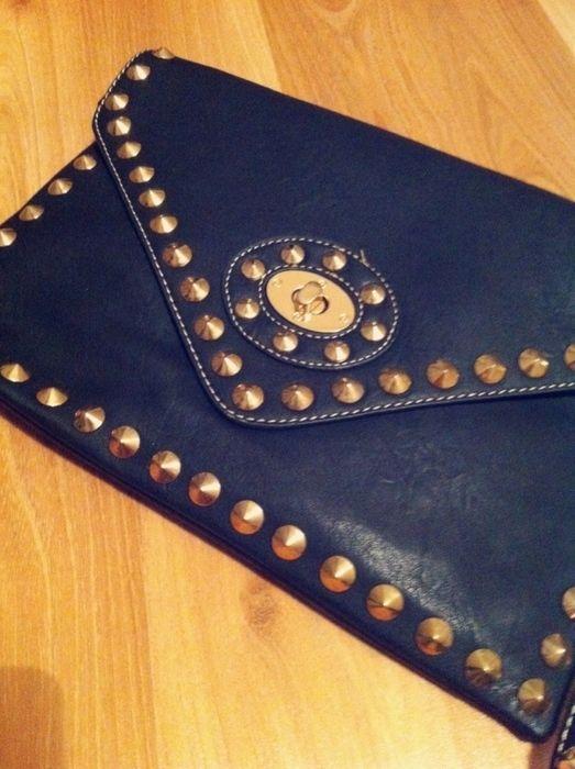 Item: Tasche Clutches schwarz gold Nieten