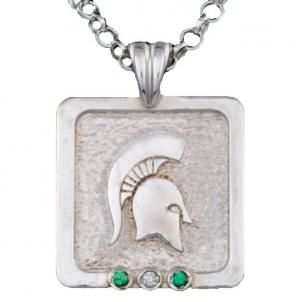Go Green Spartan Pendant from Michiganstatejewelry.com
