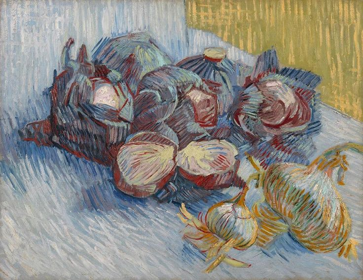 Refreshing to see works that aren't as well known by Vincent  Van Gogh - he made several food still lifes during his painting career, like this one. #vincentvangogh #vangogh #stillife #onions #cabbage #vangoghmuseum #painting #amsterdam