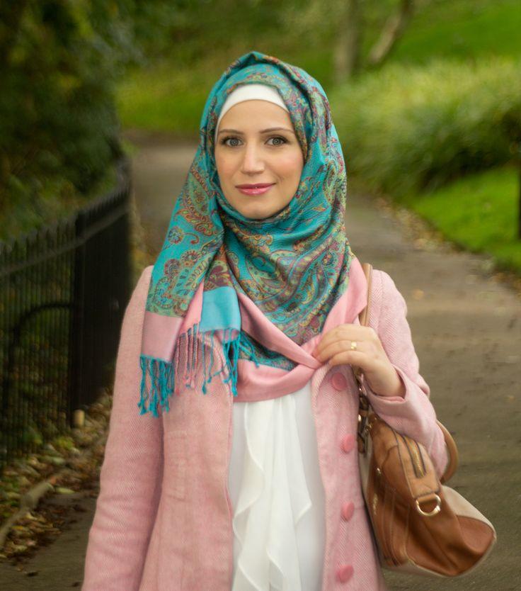 Wearing a nice pink coat with a blue/pink silk hijab #fashion #ootd #pinkcoat #hijabfashion #fashionblogger #hijabilook #wintercoat