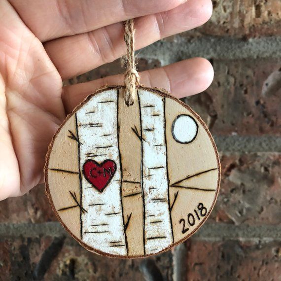 Two Flying Eagles Ornament,Birch Tree Slice Ornament,Wood Burned Eagles Ornament,Custom Couples Ornament Personalized Couples Ornament