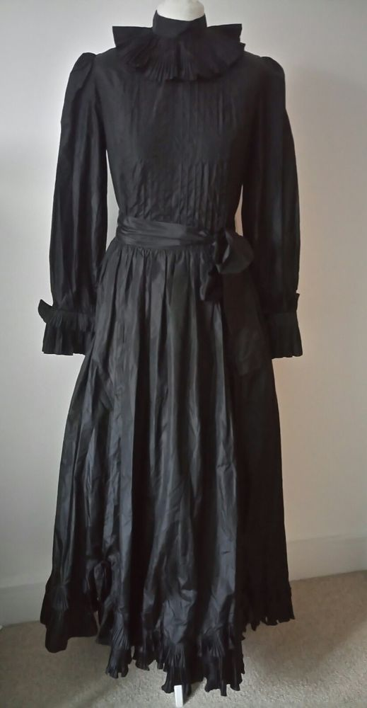 GINA FRATINI *  SIZE 10 LADIES BLACK SILK PARTY MAXI VINTAGE DESIGNER DRESS