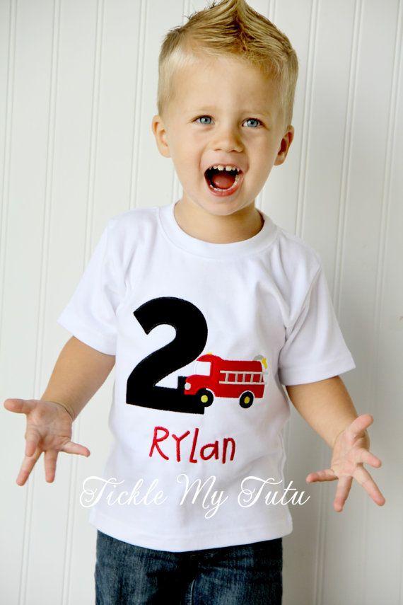 Firetruck/Fireman Themed Boys BIrthday Shirt by TickleMyTutu