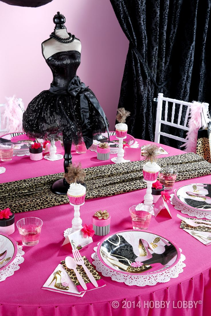 Throw your runway-ready friend a fashionista-themed party! This animal print and hot pink combo will be sure to impress your guests.