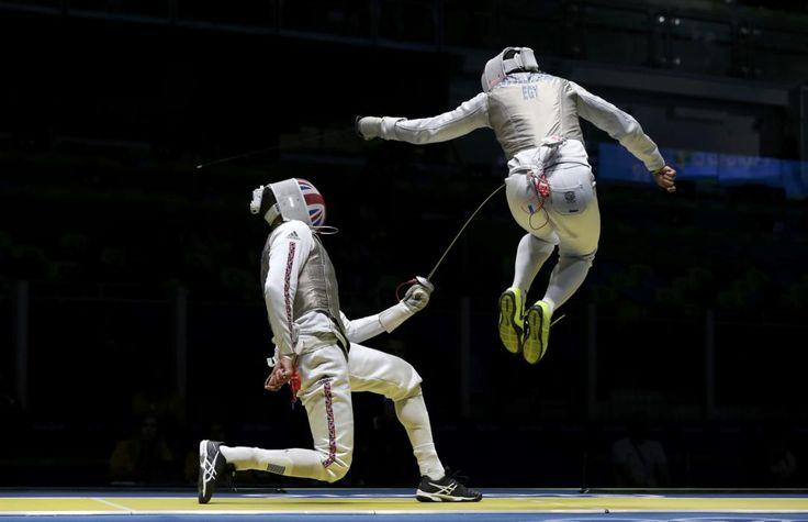 Rio 2016: Fencing - James-Andrew Davis with Alaaeldin Abouelkassem