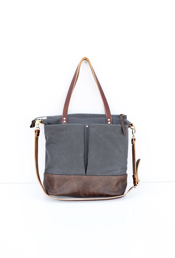 Grey waxed canvas and leather diaper bag nappy bag tote bag  *** This bag is handmade to order - please see my shop