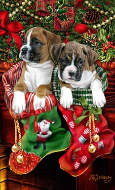 "New for 2014! Boxer Christmas Holiday Cards are 8 1/2"" x 5 1/2"" and come in packages of 12 cards. One design per package. All designs include envelopes, your personal message, and choice of greeting. Select the inside greeting of your choice from the menu below.Add your custom personal message to the Comments box during checkout."