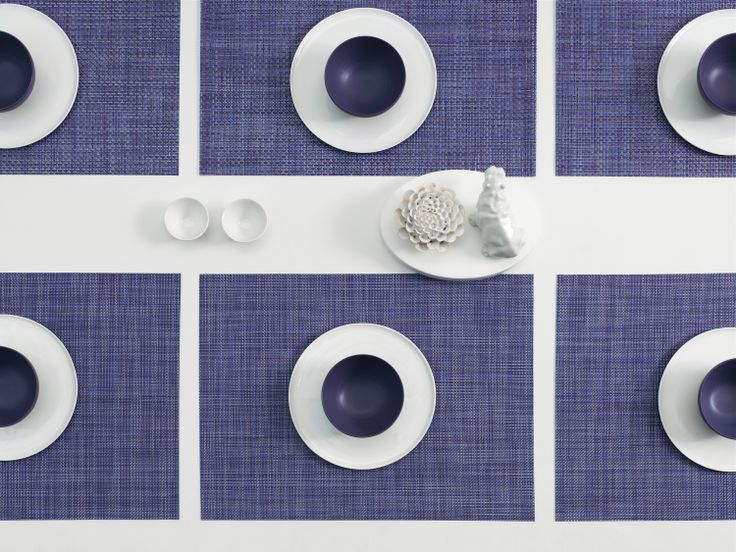 PROPS WITH CHILEWICH | RECTANGLE PLACEMATS IN PURPLE BASKETWEAVE AND BLUEBERRY MINI BASKETWEAVE | KPM PORCELAIN HIPPOPOTAMUS: THE PORCELAIN ROOM