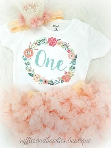 ***CUSTOMER FAVORITE*** Baby Girl Peach & Aqua Floral Wreath Boho First Birthday Shirt