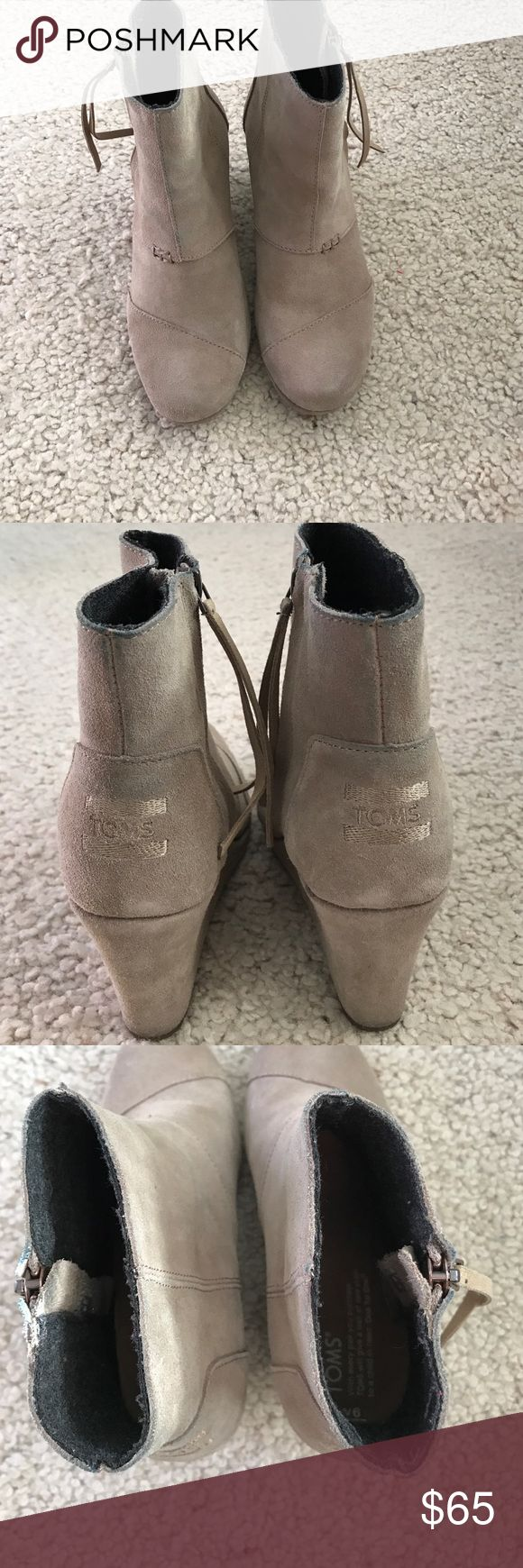 TOMS Desert Wedge High Booties TOMS Desert Wedge High Booties. Color Taupe Suede. Size 6. Only worn a few times. Good Condition. A little bit of blue rubbed off onto them from jeans along the top as shown in the picture. TOMS Shoes Ankle Boots & Booties