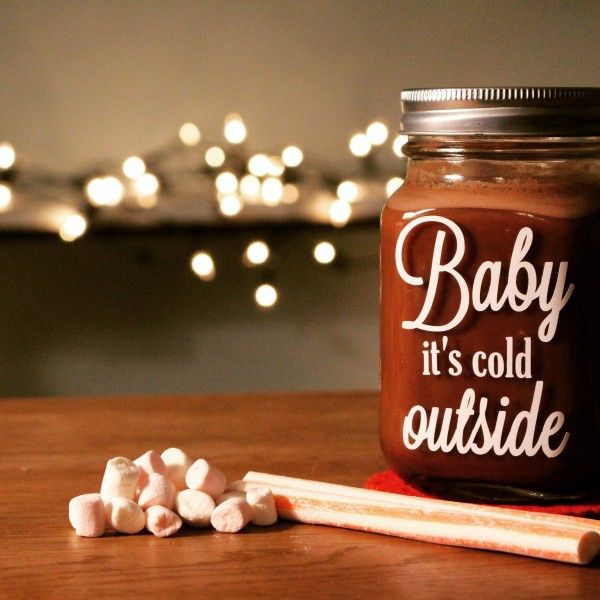 Snuggle up with a hot chocolate. Our famous Mason Jars, decorated with 'baby it's cold outside' and a delicate little snowflake on the back these lovely glass jars are unique in design and will help keep you cosy on chilly nights!