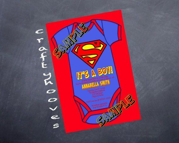 Superhero Superman Baby Shower Itu0027s A Boy Party Invitations U Print Custom  Super