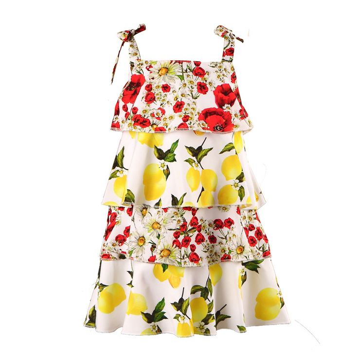 >> Click to Buy << European American Fashion Layer Girl Fringed Dress Children Tiered Dresses Kid Sundress Backless Braces dress Floral Clothes #Affiliate