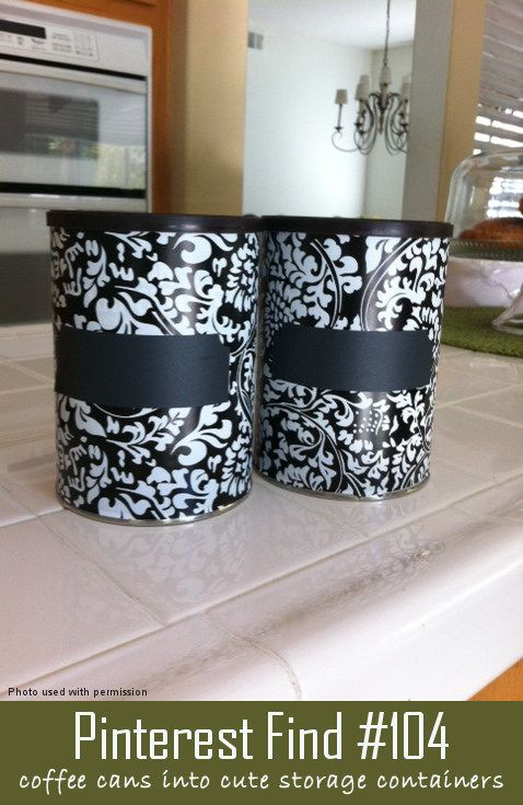 Turn tin coffee cans #10 and any other tin cans into designer storage containers.