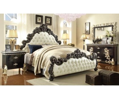 HDS  HD1208 Victorian Grand Design White Leather Bed With Decorative Wood  Trims And Casegoods Bedroom. Best 25  White leather bed ideas on Pinterest   White leather