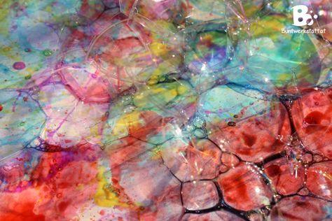 easy tutorial painting with bubbles #crafts for kids // Einfache Anleitung für Malen mit Seifenblasen #Basteltipp für Kinder