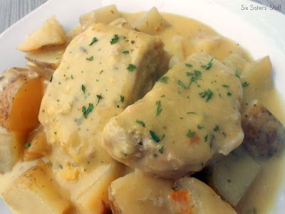 Slow Cooker Creamy Ranch Pork Chops and Potatoes  These are delicious! Made these and will make again. I sliced the potatoes very thin. I also added Adolfs meat tenderizer, pepper and salt to pork chops. A must try.